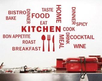 21 piece Cooking Kitchen Vinyl Wall Decal / Kitchen Decal / Cooking Decal / Baking Decal / Chef Decal/ Home Decor / Kitchen Deco