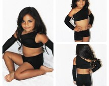 HDX- Girl Competition Dance Wear, Pageant Costume, Talent Show Dance Wear, Little Girl Dance Wear, Black Dance Wear, Toddler Dance Wear