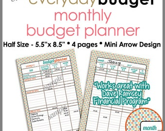 "HALF SIZE 5.5"" x 8.5"" - Monthly Budget Tracker Planner Printable Worksheet -  Mini Arrows - PB1517"