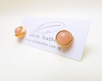 Wirewrapped Natural Stone Earstuds / Rose Quartz with14k Rose Gold-filled