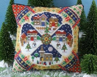 Christmas Village Mini Cushion Cross Stitch Kit