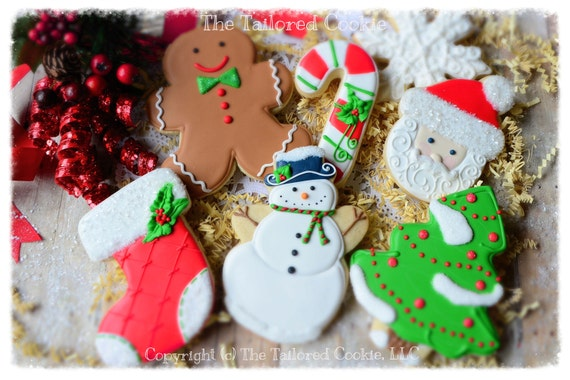 Decorated Christmas Cookies, Holiday Cookies, Assorted Cookies, Shortbread Sugar Cookies, Cookie Favors