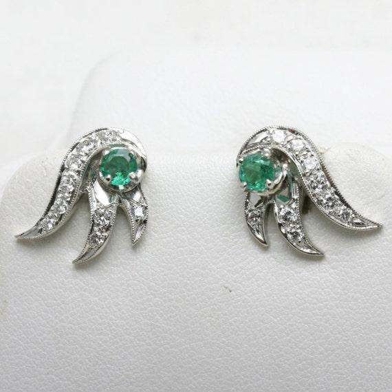 Estate Vintage 1920's Emerald Diamond Earrings 14k white gold green posts pierced ears