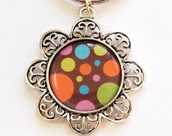 Flower keyring, Key Chain, Key Ring, Keychain, keyring, stocking stuffer, under 10, Abstract Design, Orange, Dots (4479)
