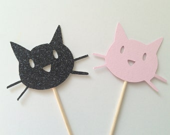 20 Pink and Black Glitter Kitty Cat Cupcake Toppers.  Kitty Cat Party.  Cupcake Decor.