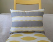 Gray, White, and Yellow Zippered Pillow Cover