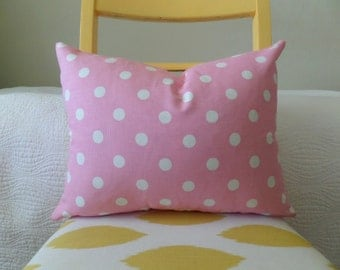Pink and White Polka Dot Zippered Pillow Cover