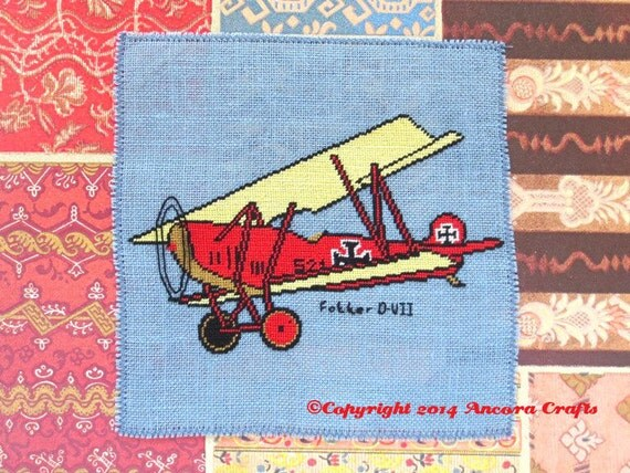 Fokker D-VII WWI Airplane Cross Stitch Pattern PDF