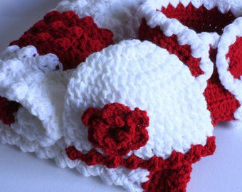 Red and white  Handmade crochet baby girl layette / Christmas/ gift set.   / Christening / shower /layette /new baby gift