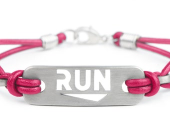 RUN Running Bracelet - Pink or Black Leather, Run Jewelry, Gifts for Runners, Running Motivation, Runner Inspiration, ATHLETE INSPIRED