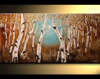 "Birch Acrylic Painting 48"" Modern Acrylic Painting Silver Birch Tree Palette Knife Landscape by Osnat - MADE-TO-ORDER"