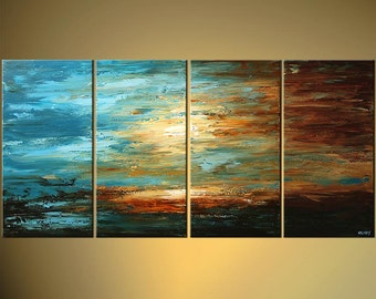 "Modern 60""  Blue Brown Landscape Abstract Palette Knife Acrylic Painting by Osnat - MADE-TO-ORDER"