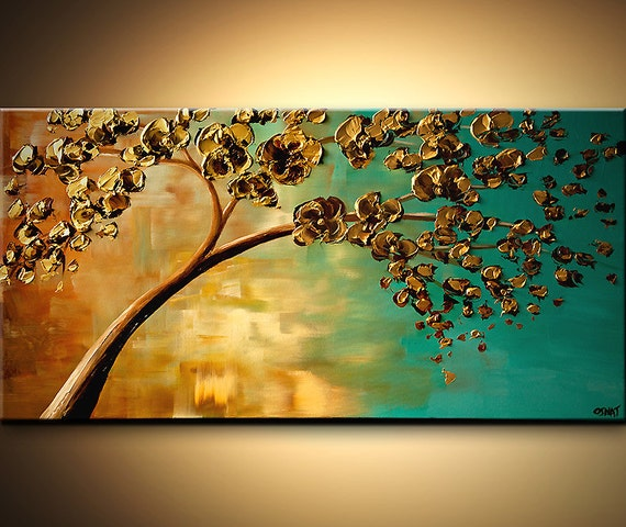 Landscape Blooming Trees Painting Original Abstract Modern