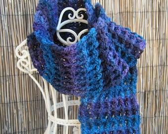 Beautiful Waffle Stitch Crocheted Variegated Scarf