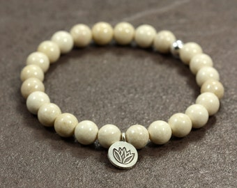 River Stone Stacking Bracelet with Hill Tribe Silver Lotus Charm, Stretch Bracelet, Sterling Silver, Lotus Charm Bracelet