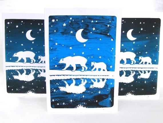 Handprinted polar bear card