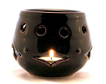 Ceramic Candle Holder - Black Luminaria - Art Deco Tea light - Minimalist Votive Candle Holder - Black Candle Container - Pierced Candle Jar