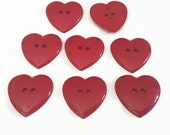 """8 Large Red Heart Buttons for Sewing and Crafts, size 1"""" x 1-1/4"""", 2 holes, bulk Valentine hearts with gift wrap"""