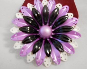 Flower Power Pin 1960's ~ Vintage Large Lacy Frosted Purple Black and White Metal Flower Petal Brooch