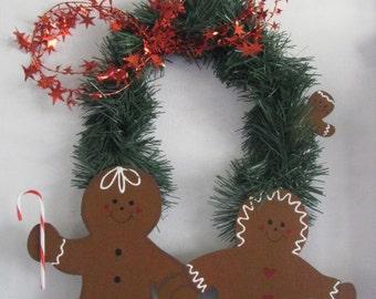 Gingerbread, wall hanging, door decor, wall decor, Christmas, collector, handpainted,  garland