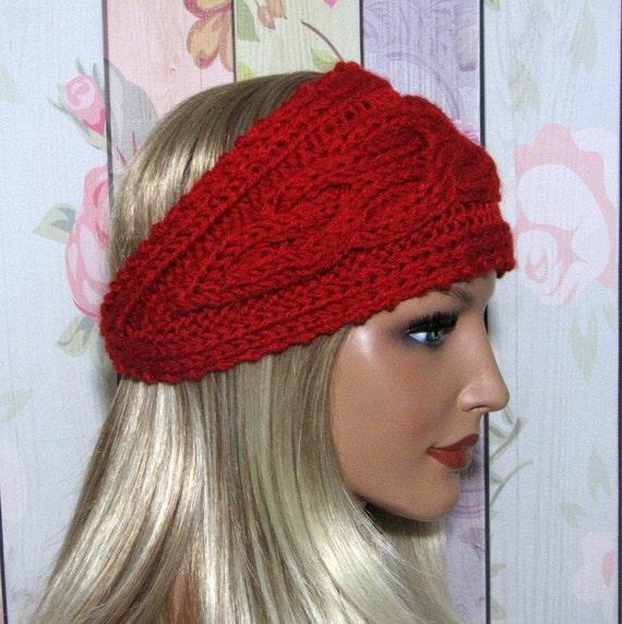 Knit Headband Pattern Button : CLEARANCE Wide Cable Knit Button Headband by MyLovelySeasons