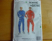 1980's Kwik Sew Pattern 1915,  Men's Jogging Suits, Shirt, Pants Without Side Seams, Size S-XL, UNCUT, Vintage