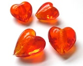 Extra Large Beads Orange Hearts Chunky Lampwork Beads 22mm - 4 Pieces