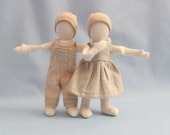 """7"""" hemp linen cloth doll made with herbicde and pestice free wool stuffing wearing a color-grown organic muslin outfit"""
