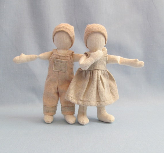 SALE Organic cloth dolls, pair of dolls,  herbicde and pestice free wool, color-grown organic cotton doll clothes, hemp dolls