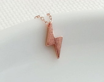 Lightning Necklace. Rose Gold Lightning Pendant. Delicate Dainty. Layering Simple Everyday. Rose Gold Necklace. Christmas Gift