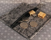Square Zip Pouch for Stitch Markers and Needles, in gray with spiders and webs