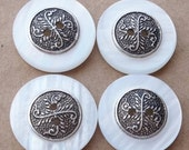 nos vintage pearlized white buttons with decorative antiqued silver tone centers--matching lot of two