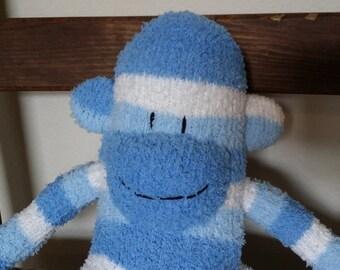 sock monkey, sock monkey doll, sock monkey plush, plush monkey, striped monkey, striped sock monkey, blue sock monkey, sockmonkey