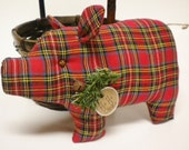 Christmas Pig - Made To Order, Red Plaid Fabric Pig Pillow Decoration, Holiday Pigs