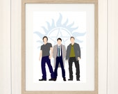 Supernatural Print, Supernatural Fanart, Supernatural Poster, Castiel, Sam Dean Winchester