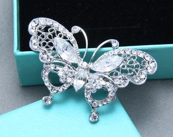 Butterfly, Rhinestone Crystals Clip,Wedding Bridal Hair Alligator Clip, Flower Girl Hair Clip,Crystal Hair Clip,Rhinestone Hair Comb