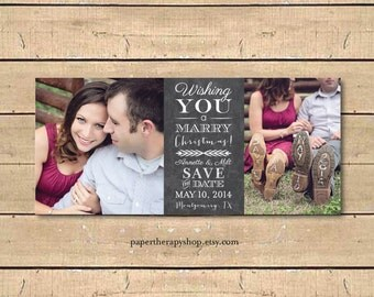 Chalkboard SAVE the DATE Christmas Card Photo Card Prints with Envelopes