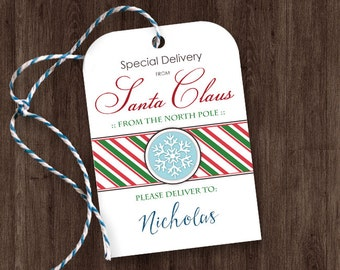 Printable Gift Tags from Santa - Special Delivery from Santa Claus Gift Tags - Editable Personalized Name - DIY Gift Tags