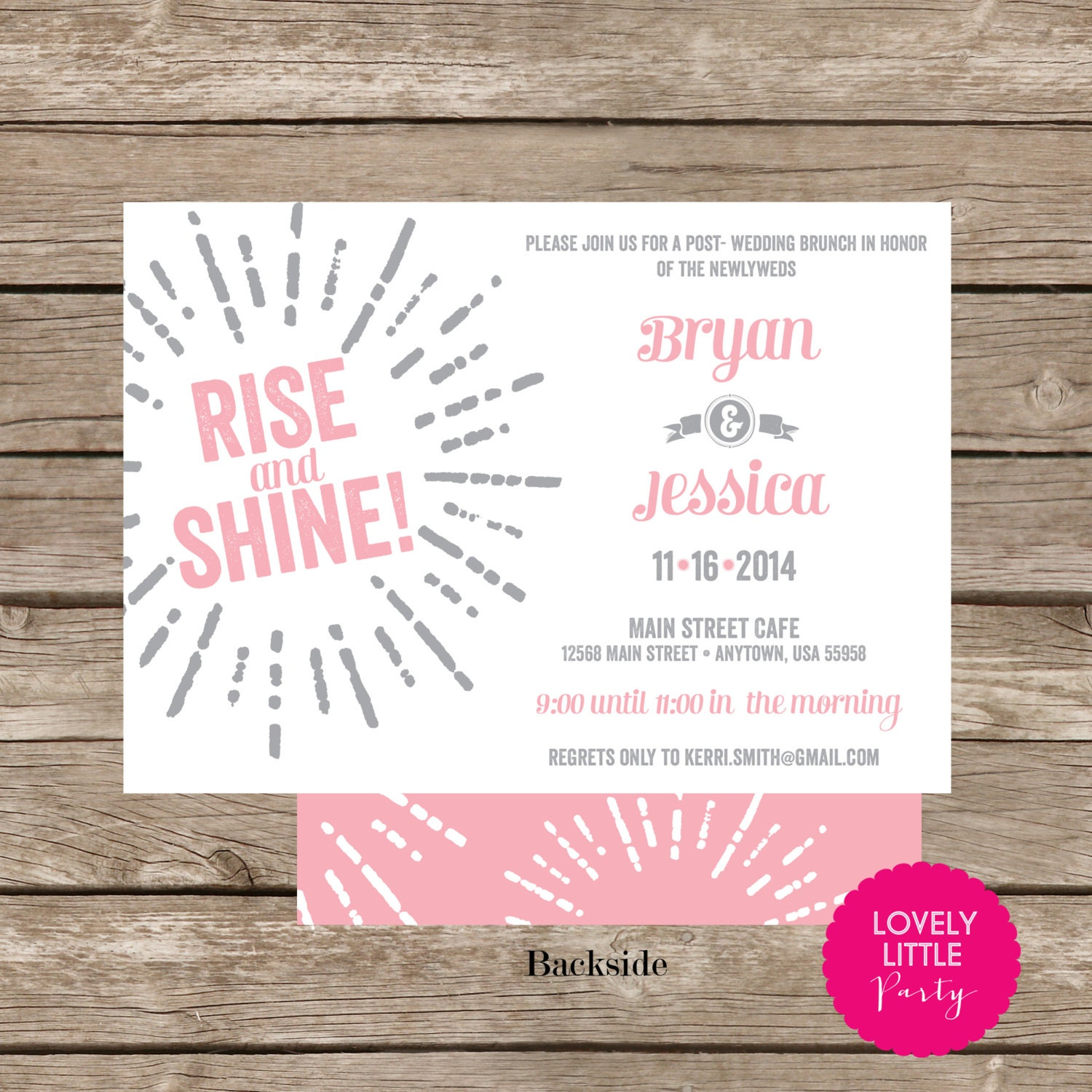 Starburst post wedding brunch breakfast invitation diy for Wedding brunch invitations