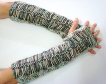 Fingerless Mittens, Hairpin Lace Mittens, Long Arm Warmers, Crochet Lace Mitts, Long Fingerless Mitt, Multicolored Mittens,