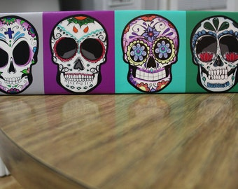 "Dia De Los Muertos "" Skulls Printed Canvas Artwork"" on Wood"