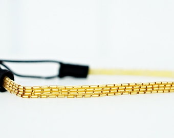 Thin Gold Beaded Headband