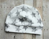 Organic Grey Star Hat in 0-3 Month Size by JuteBaby