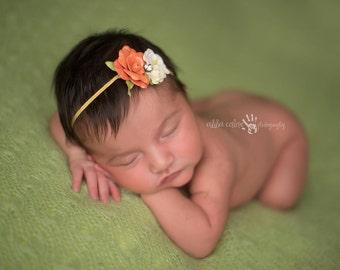 Baby Headband, Floral Headband- Burnt Orange and Ivory Floral Baby Headband