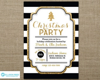 Black and Gold Christmas Party Invitation - Christmas Invitation - Glitter Christmas Invitation - Holiday Party Invitation - Printable