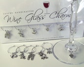 I LOVE MY CAT Handmade Wine Glass Charms Gift Pack with Swarovski® Crystal Beads