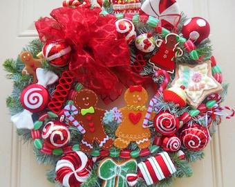 Gingerbread Wreath,Gingerbread Decor,Wreath,Wreaths,Christmas Wreath,Designer Wreath,SOLD,Custom Orders Available