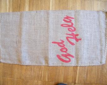 Vintage Swedish Christmas Burlap Fabric Gift Bag - Present Sack - God Helg Hollidays Sweden - Kid's Joy...
