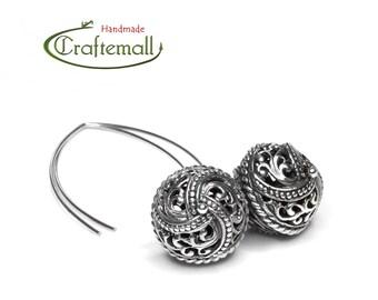 Clearance: Sterling silver Bali earrings - long dangle earrings, sterling silver dangle earrings, sterling silver earrings dangle
