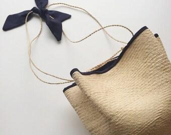 Charming Vintage Sweetgrass Bag, Handmade in Jamaica BWI, Above Rocks Craft Bag, Vintage Purse